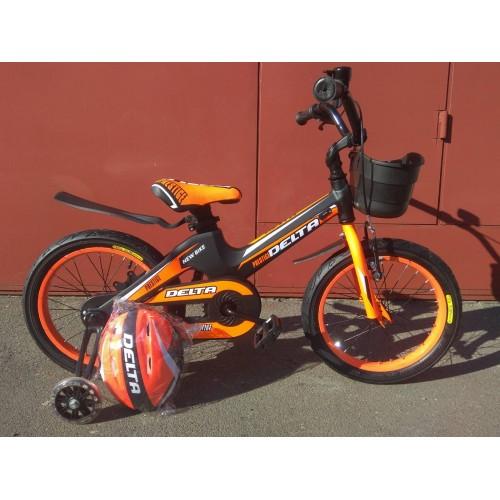 """Детский велосипед Delta Prestige 16"""" (черный/оранжевый, 2020) + шлем"""