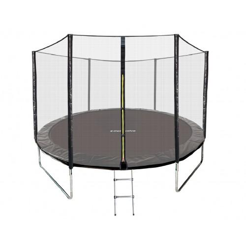 Батут GetActive Jump 10 ft-312 см с лестницей и внешней сеткой (черный)
