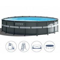 26340 Каркасный бассейн Intex ULTRA FRAME 732х132см +фильтр-насос 10500 л.ч, лестница, тент, подложка купить в Минске