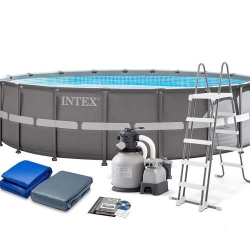 26340 Бассейн Intex ULTRA FRAME 732х132см +фильтр-насос 10500 л.ч, лестница, тент, подложка