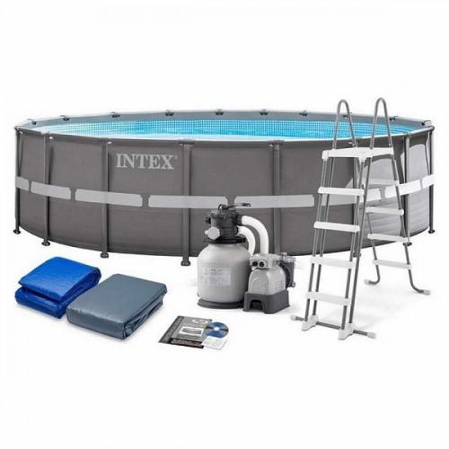 26326 Каркасный бассейн Intex ULTRA XTR™ FRAME 488х122см +фильтр-насос 4500 л.ч, лестница, тент, подложка