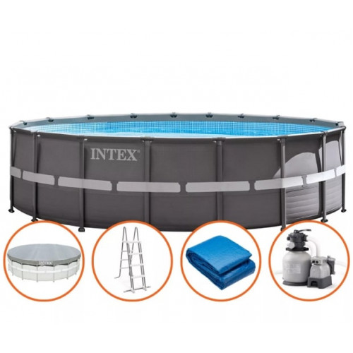 26334 Бассейн Intex ULTRA XTR™ FRAME 610х122см +фильтр-насос 7900 л.ч, лестница, тент, подложка