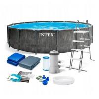 Каркасный бассейн Intex Metal Frame 28252/56952 549х122 см + фильтр-насос, картриджный фильтр, лестница, подстилка, покрывало