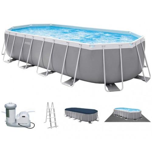 26798 Каркасный бассейн Intex PRISM FRAME (Oval) 610x305x122см +фильтр-насос 5678 л.ч, лестница, тент, подложка