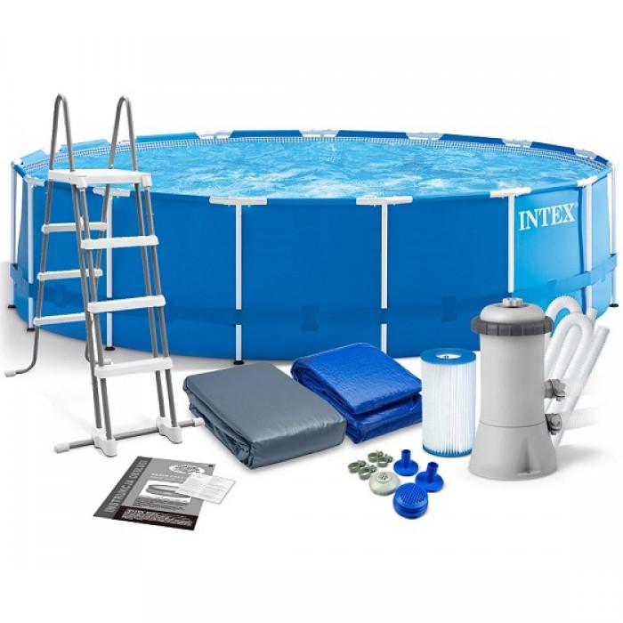 28242 Каркасный бассейн Intex METAL FRAME 457x122см +фильтр-насос 3725 л.ч +лестница +подложка+тент-чехол