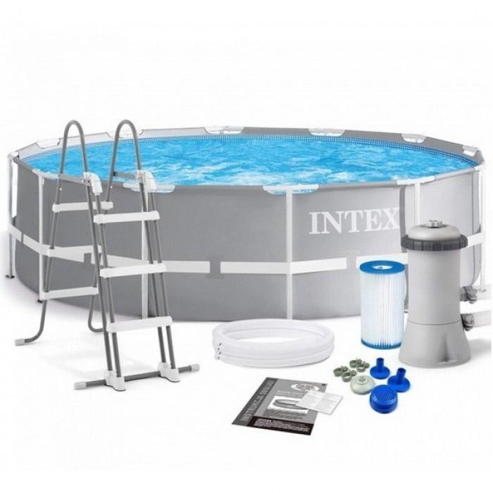 26716 Каркасный бассейн Intex PRISM FRAME 366х99см +фильтр-насос 2006 л.ч, лестница купить в Минске