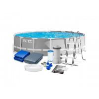 26720 Каркасный бассейн Intex PRISM FRAME 427х107см +фильтр-насос 3785 л.ч, лестница, тент, подложка