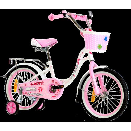 Детский велосипед Nameless Lady 18 (2021, белый/розовый)
