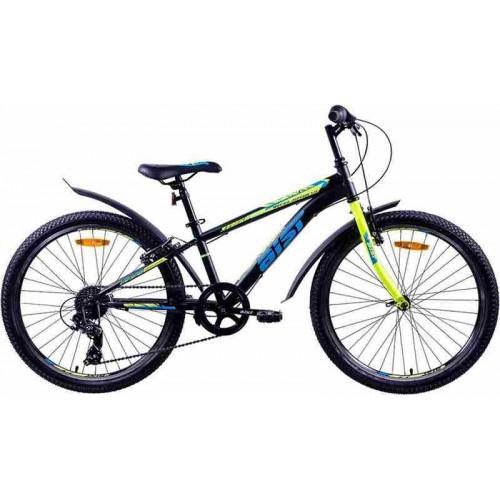 """Велосипед Aist Rocky Junior 1.0 24"""" (черный/салатовый/голубой, 2020)"""