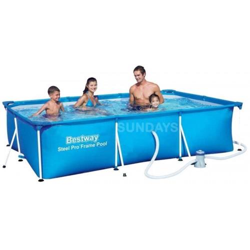 Каркасный бассейн Bestway Steel Pro 56411 9'10 x 6'7 x 26/300x201x66см+фильтр-насос