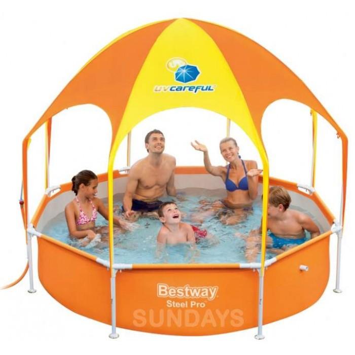 Каркасный бассейн с навесом Bestway Steel Pro 56432 UV Careful 8' x 20/244x51см купить в Минске