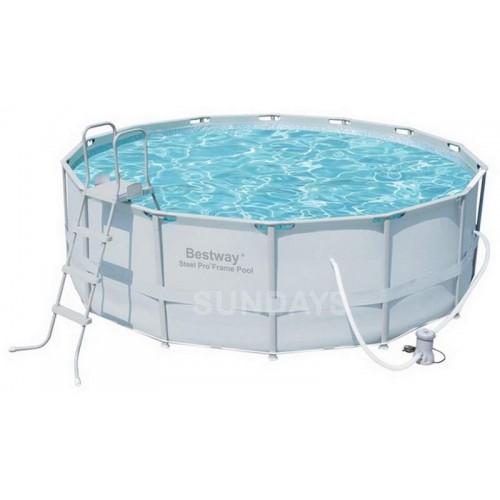 Каркасный бассейн Bestway Power Steel 56444 14' x 48/427x122см+фильтр-насос, тент, лестница, подложка