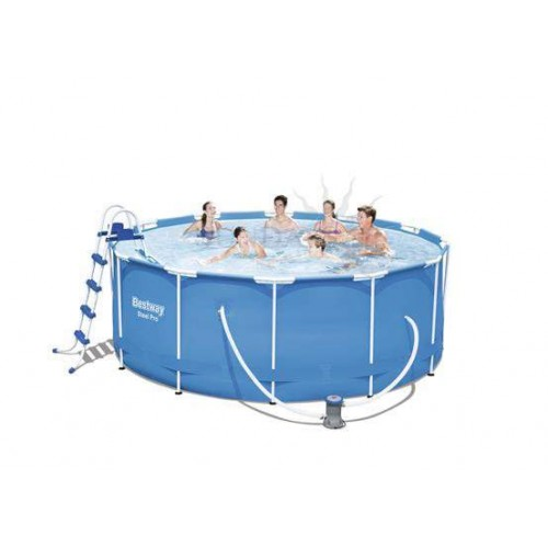 Каркасный бассейн Bestway Steel Pro Max 10250 л, 56420, 366х122 см + фильтр-насос 58383, + лестница + подложка + тент + ремкомплект