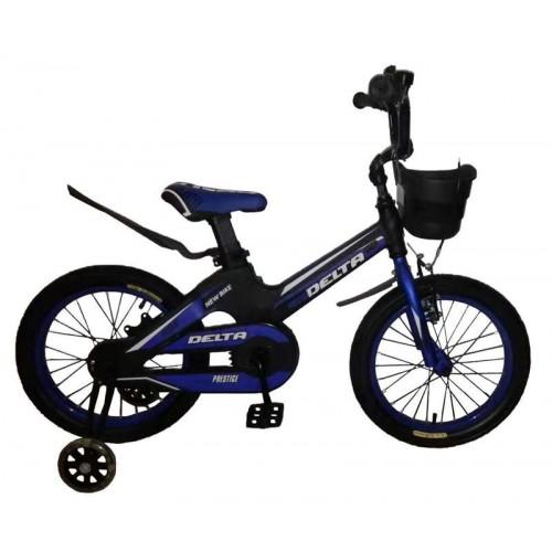 """Детский велосипед Delta Prestige 18"""" (черный/синий, 2020) + шлем"""