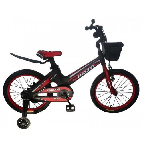 """Детский велосипед Delta Prestige 18"""" (черный/красный, 2020) + шлем"""
