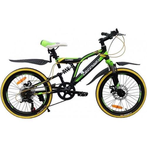 """Велосипед Greenway Lumbo 20"""" (чёрный/зеленый, 2020)"""