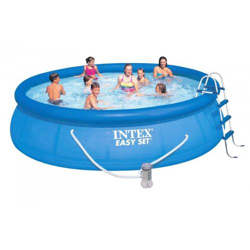 26166NP Надувной бассейн Intex EASY SET 457х107см +фильтр-насос 3785л.ч, лестница, тент, подложка