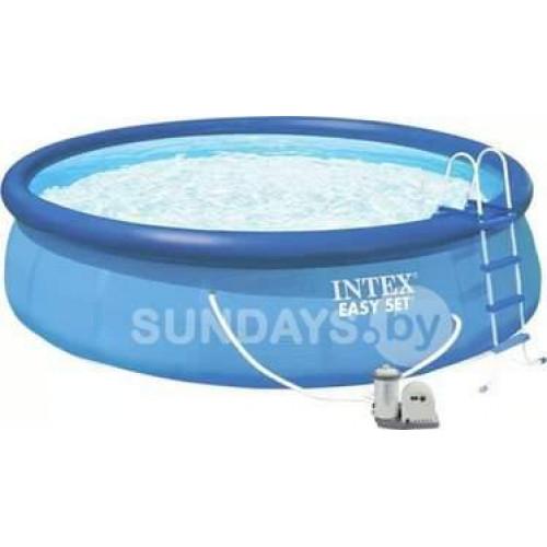 26176NP Надувной бассейн Intex EASY SET 549х122см +фильтр-насос 5678 л.ч, лестница, тент, подложка