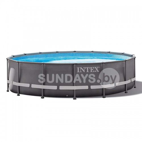 26340 Каркасный бассейн Intex ULTRA FRAME 732х132см +фильтр-насос 10500 л.ч, лестница, тент, подложка
