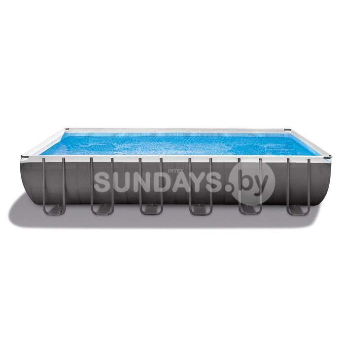 26368 Каркасный бассейн Intex ULTRA XTR™ PREMIUM 732х366х132см +фильтр-насос с хлоргенератором 6000 л.ч, лестница, тент, подложка, набор для чистки, воллейбол.сетка купить в Минске