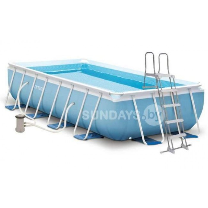 26788 Каркасный бассейн Intex PRISM FRAME 400x200x100см +фильтр-насос 2006 л.ч, лестница купить в Минске