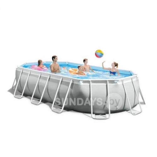 26796 Каркасный бассейн Intex PRISM FRAME (Oval) 503x274x122см +фильтр-насос 5678 л.ч, лестница, тент, подложка