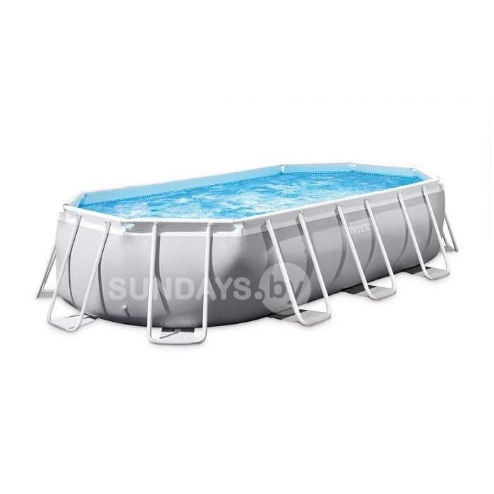 26798 Каркасный бассейн Intex PRISM FRAME (Oval) 610x305x122см +фильтр-насос 5678 л.ч, лестница, тент, подложка купить в Минске