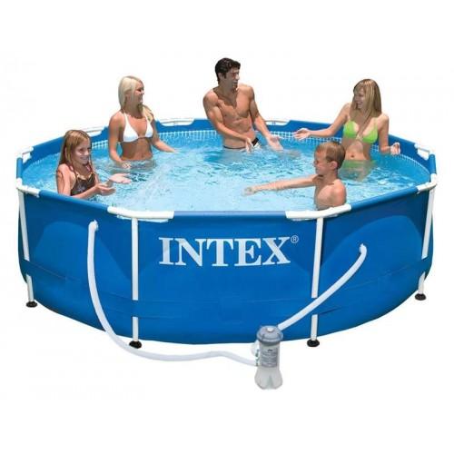 28202 Каркасный бассейн Intex METAL FRAME 305х76см + фильтр-насос 1250 л.ч, картриджный фильтр
