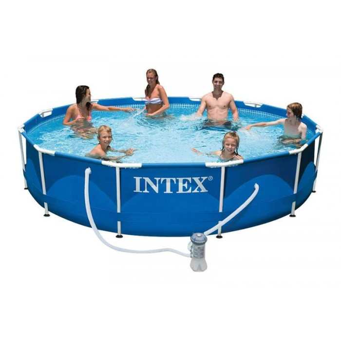 28212 Каркасный бассейн Intex METAL FRAME 366х76 см Intex + фильтр-насос 2006 л/ч купить в Минске