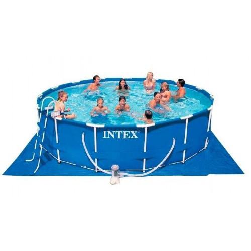 Каркасный бассейн Intex Metal Frame 28228NP 457x84 см + фильтр-насос, лестница, подстилка, покрывало