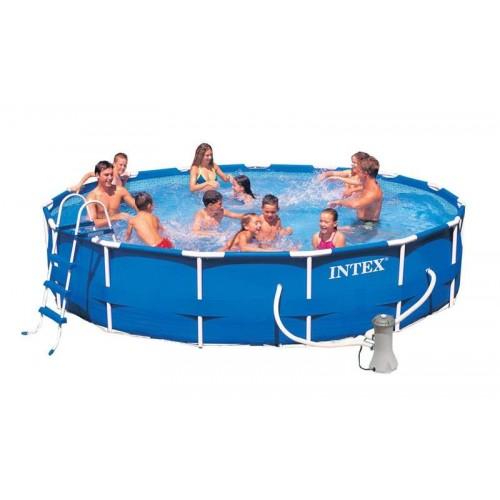 Каркасный бассейн Intex Metal Frame 28232/54942 457х91 см + фильтр-насос, картриджный фильтр, лестница, подстилка, покрывало