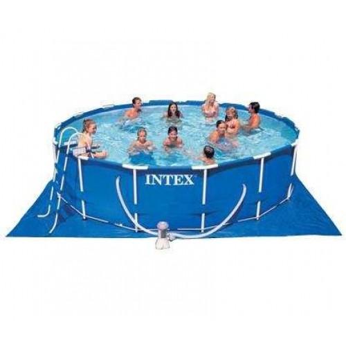 Каркасный бассейн Intex Metal Frame 28234/54940 457х107 см + фильтр-насос, картриджный фильтр, лестница, подстилка, покрывало