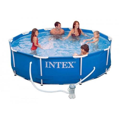 Каркасный бассейн Intex Metal Frame 54424 366х99 см + фильтр-насос, картриджный фильтр, лестница