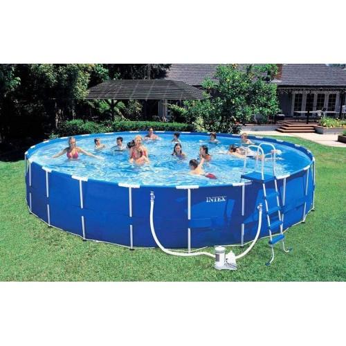 Каркасный бассейн Intex Metal Frame 54950 732x132 см + фильтр-насос, лестница, подстилка, покрывало, волейбольная сетка