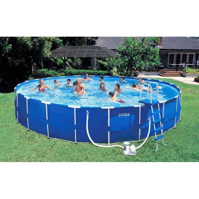 Каркасный бассейн Intex Metal Frame 54950 732x132 см + фильтр-насос, лестница, подстилка, покрывало, волейбольная сетка купить в Минске