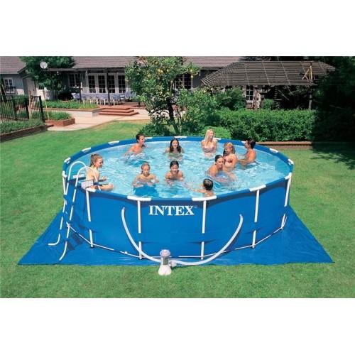 Каркасный бассейн Intex Metal Frame 56949 457x107 см + фильтр-насос, картриджный фильтр, лестница, подстилка