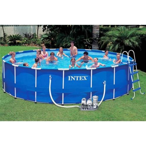 Каркасный бассейн Intex Metal Frame 57954 549х122 см + фильтр-насос, картриджный фильтр, лестница, подстилка, покрывало, волейбольная сетка