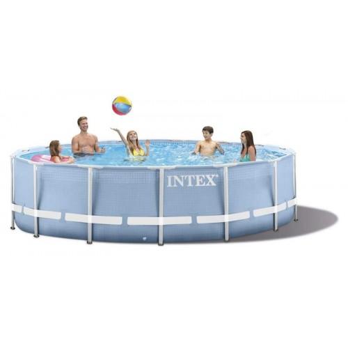 Каркасный бассейн Intex Prism Frame 28728 457x84 см + фильтр-насос, лестница, тент, подстилка
