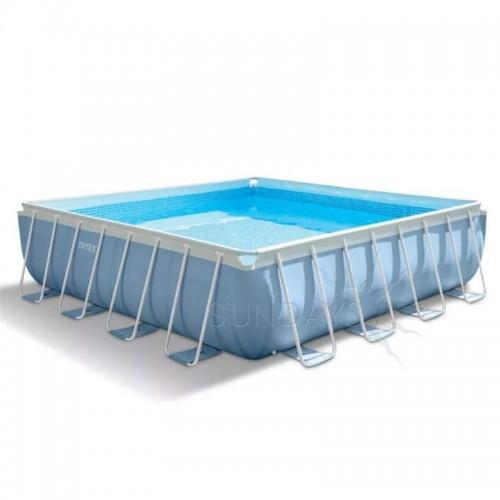 Каркасный бассейн Intex Prism Frame 28766 488х488х122см + фильтр-насос, лестница, тент, подстилка