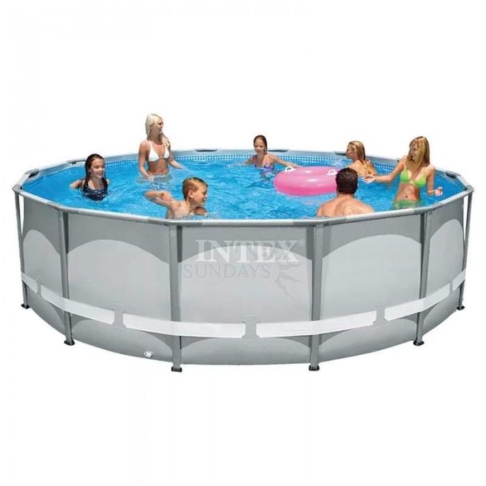 Каркасный бассейн Intex Ultra Frame 26322 488х122см + фильтр-насос, лестница, тент, подстилка купить в Минске
