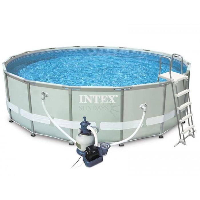 Каркасный бассейн Intex Ultra Frame 26324 488х122см + песочный фильтр-насос, лестница, тент, подстилка купить в Минске