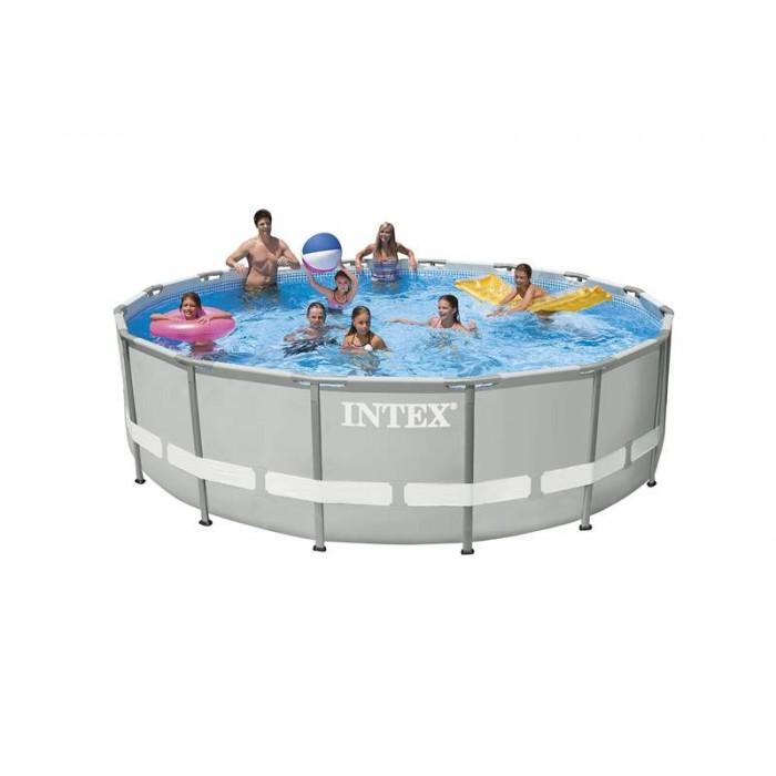 Каркасный бассейн Intex Ultra Frame 28328 488х122 см + фильтр-насос с хлоргенератором, картриджный фильтр, набор для ручной чистки, лестница, подстилка, покрывало купить в Минске