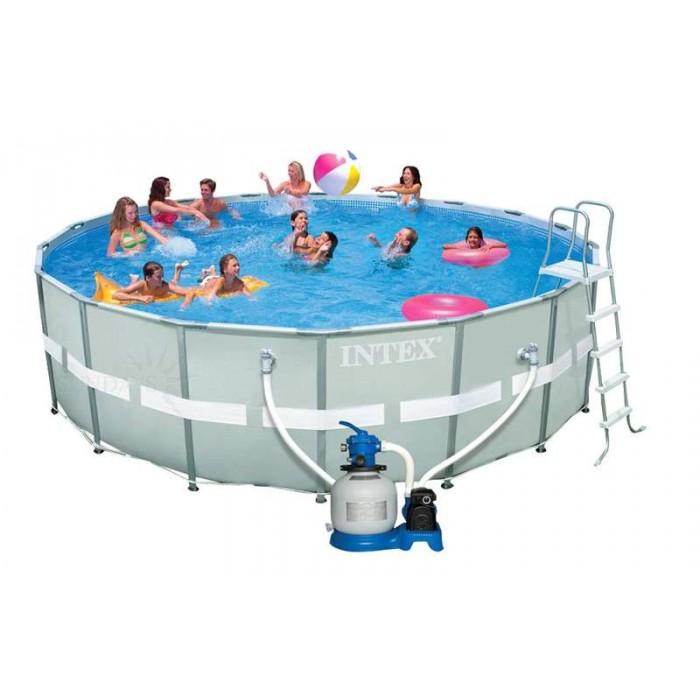 Каркасный бассейн Intex Ultra Frame 28334/54958 549х132 см + фильтр-насос, набор для ручной чистки, лестница, волейбольная сетка, подстилка, покрывало купить в Минске