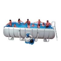 Каркасный прямоугольный бассейн Intex Rectangular Ultra Frame 28352/54982 549х274х132 см + фильтр-насос, лестница, подстилка, покрывало купить в Минске
