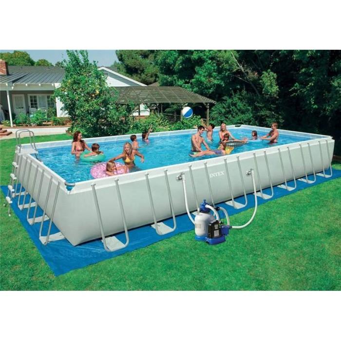 Каркасный прямоугольный бассейн Intex Ultra Frame 28374/54988 975х488х132 см + фильтр-насос, набор для ручной чистки, лестница, волейбольная сетка, покрывало, подстилка купить в Минске