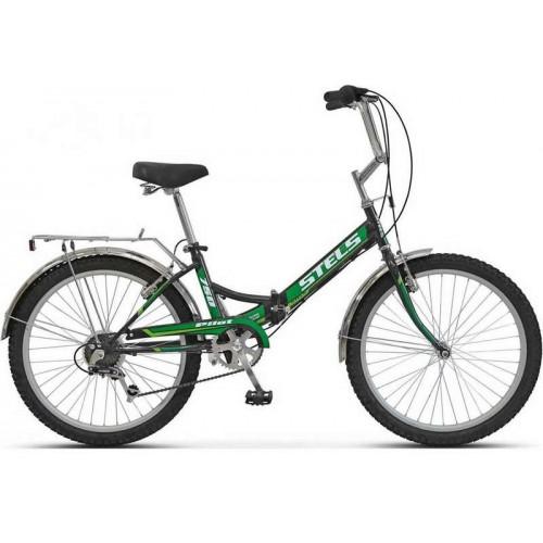 """Велосипед Stels Pilot 750 24"""" Z010 (черный/зеленый, 2019)"""