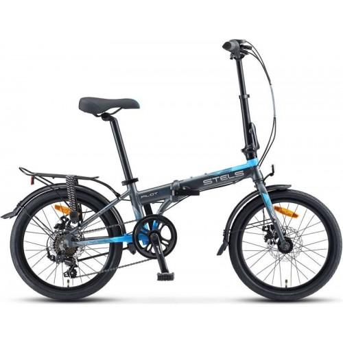 "Велосипед Stels Pilot 630 MD 20"" V010 (серый/голубой, 2020)"