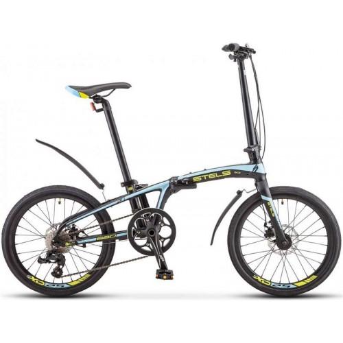 """Велосипед Stels Pilot 680 MD 20"""" V010 (черный/голубой, 2020)"""