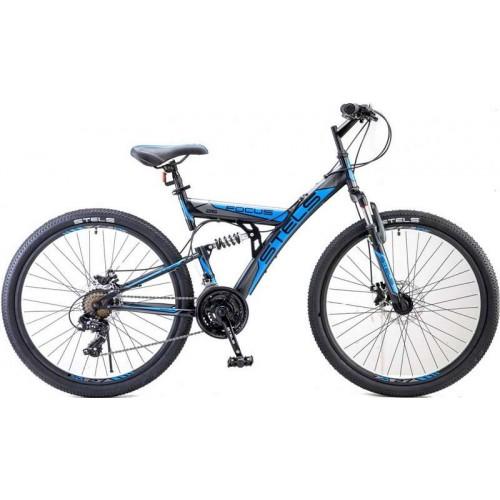 """Велосипед Stels Focus MD 21-sp 26"""" V010 (чёрный/синий,2018)"""