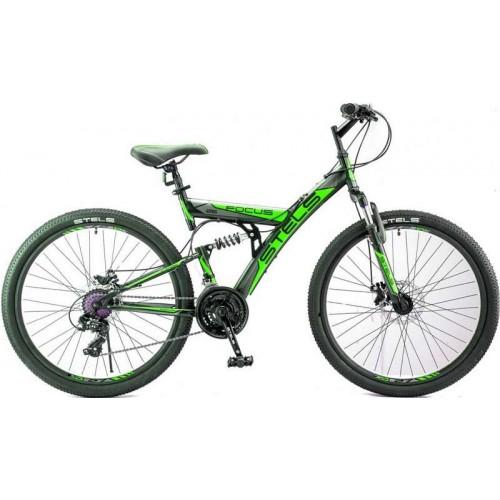 "Велосипед Stels Focus MD 21-sp 26"" V010 (чёрный/зелёный,2018)"